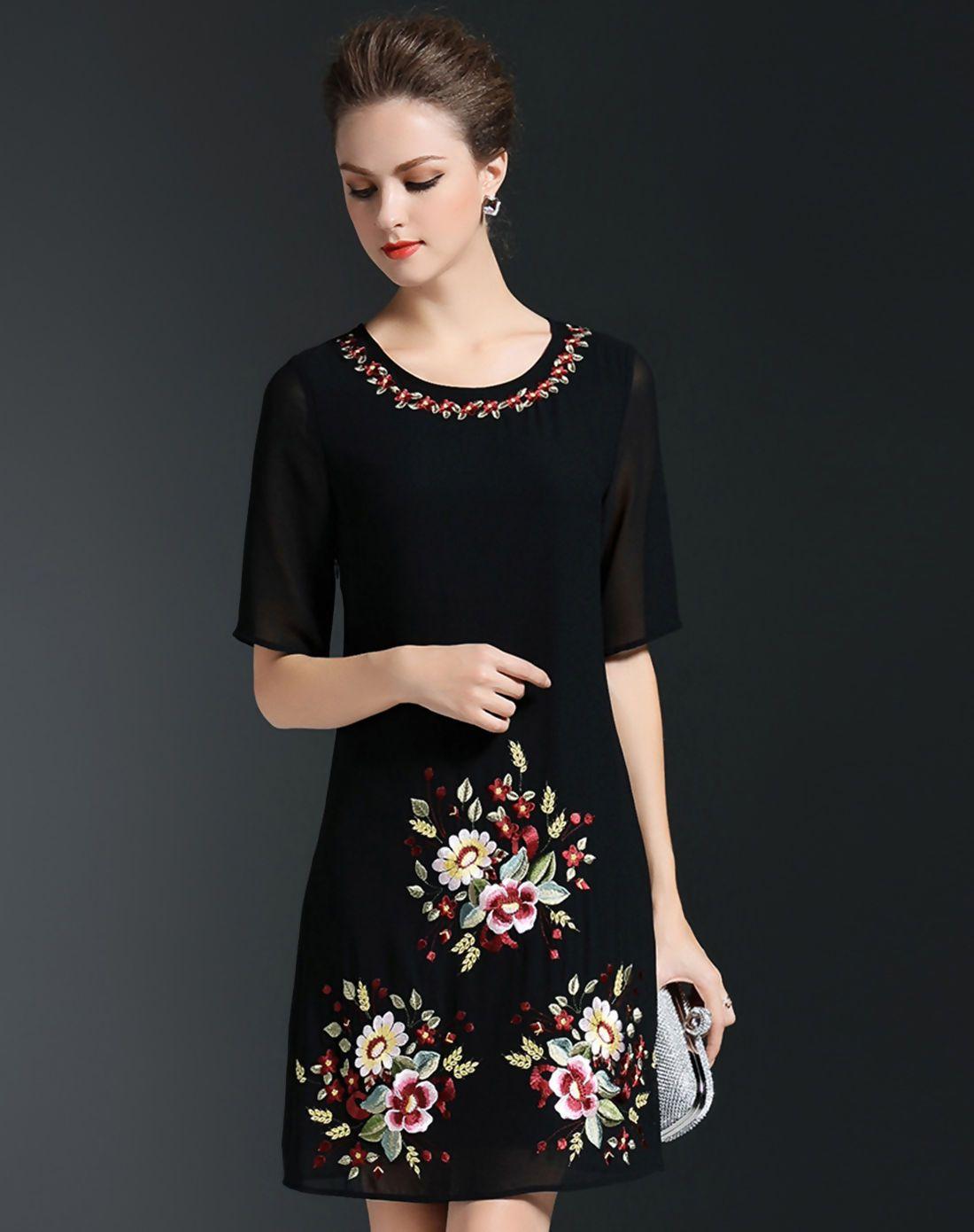 Adorewe vipme aline dresses qeexi black floral embroidery aline