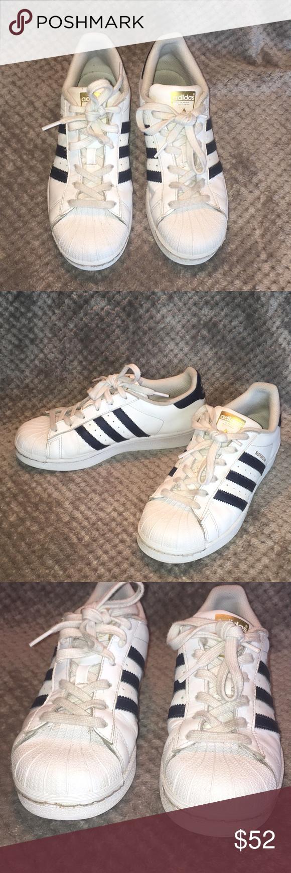 Adidas Superstar Navy Blue Stripes Sz 6