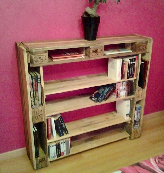 Narrow Depth Bookcase Made From A Pallet Wood Pallets