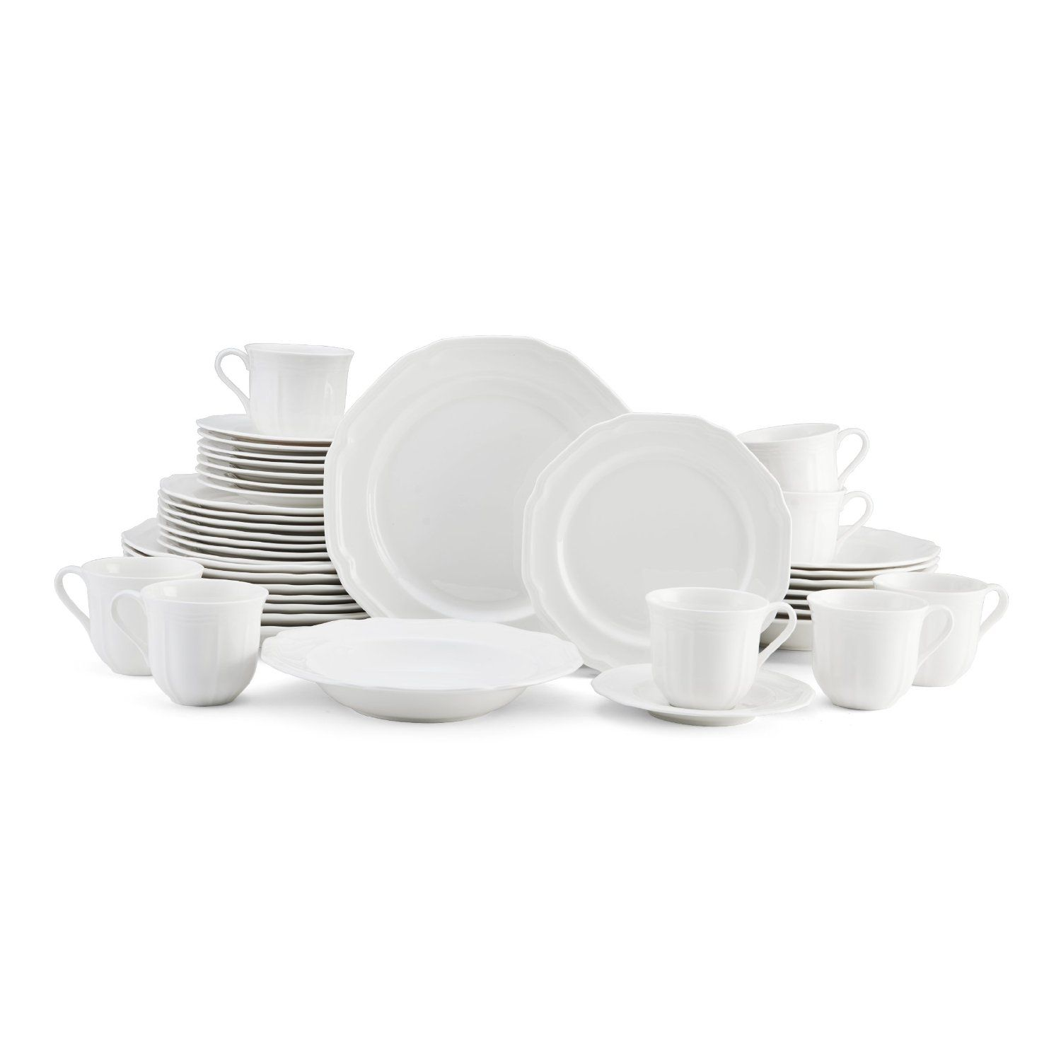 Dinnerware Set Service For 8 White Porcelain Kitchen Plates Bowls Cups 40 Piece  sc 1 st  Pinterest : white dinnerware sets for 8 - pezcame.com