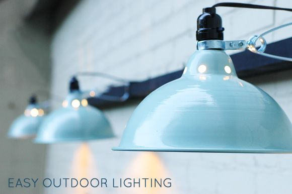Outdoor Lighting Using Clamp Lights. From Little Green Notebook