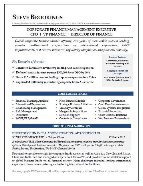 cfo resume sle vice president of finance director of