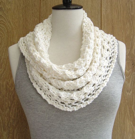 Spring Lace Scarf KNITTING PATTERN easy Knit Infinity Scarf Instant ...