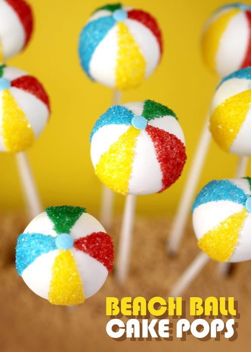 Lets have a ball Beach Ball Cake Pops Great idea for Mothers Day