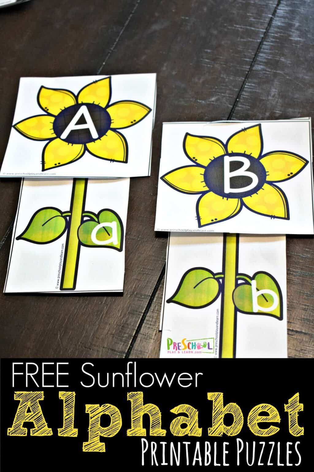 Sunflower Alphabet Printable Puzzles