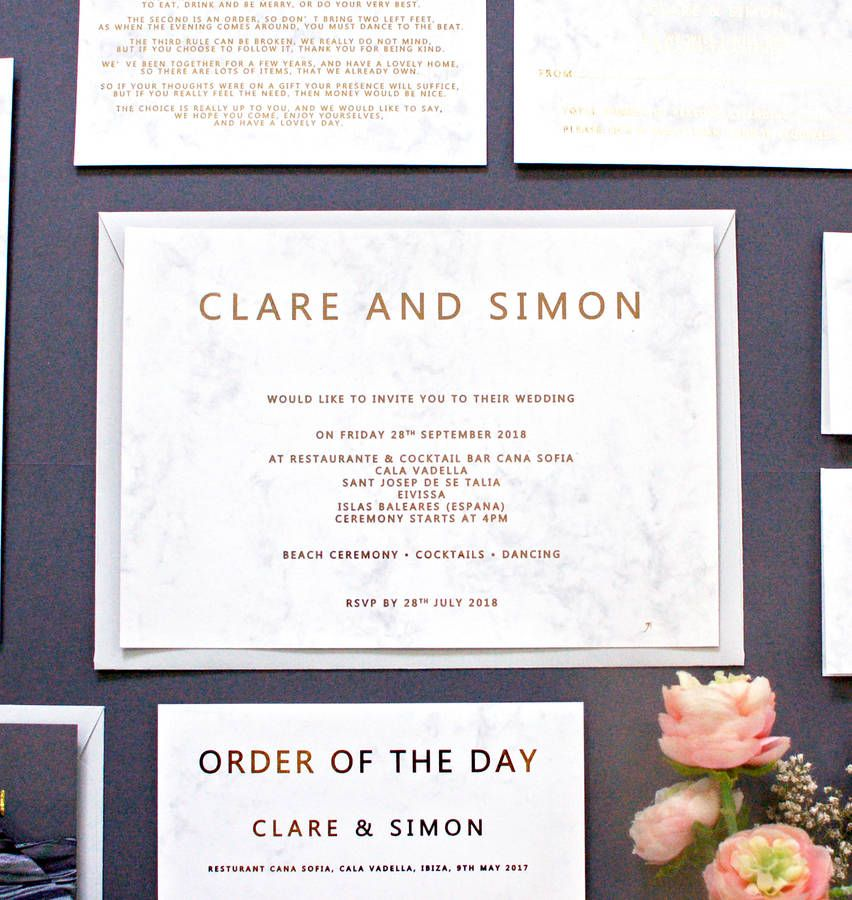 Marble And Gold Foil Wedding Invitation | Gold weddings, Weddings ...