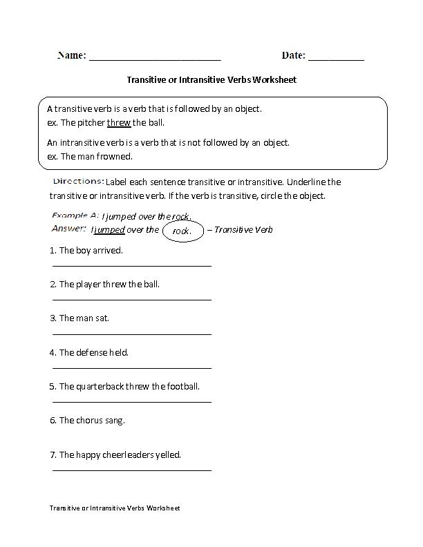 Transitive or Intransitive Action Verbs Worksheet   Englishlinx.com ...