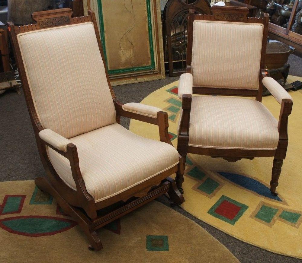 Antique victorian parlor chairs - 2 Antique Eastlake Walnut Carved Parlor Chairs Victorian Rocker Arm Seat Victorian