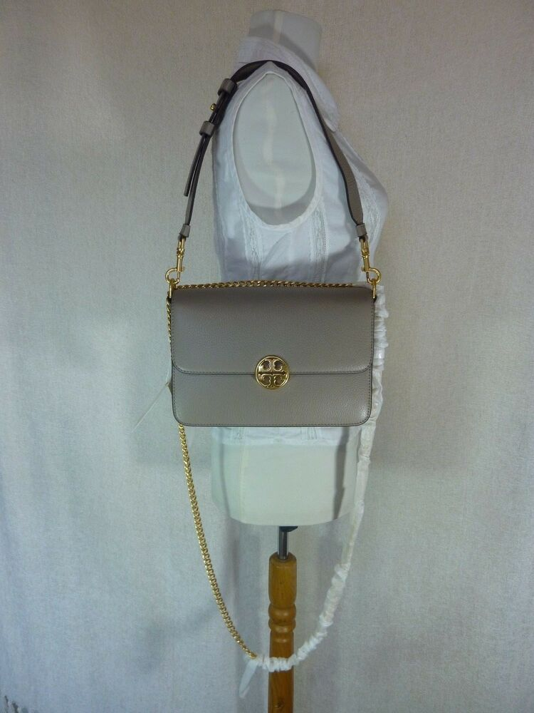 317d6fa8c NWT Tory Burch Gray Heron Chelsea Convertible Shoulder Bag - $498 #ToryBurch  #ShoulderBag