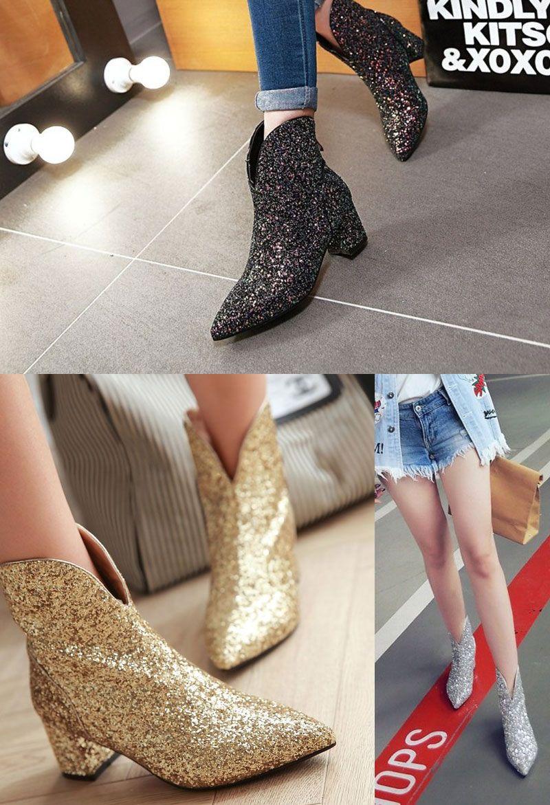 ae5e86e4bc506 Low boots femme chic en sequins mode à talon bas carré   Magnifique ...