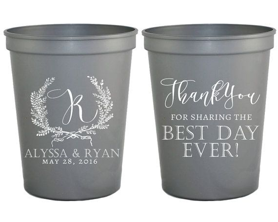 Wedding Cups Anniversary Thank You Custom Plastic Party