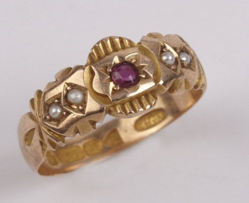 Antique Gypsy Ring 15K Solid Gold Pearls Ruby 1898 Size L Gipsy
