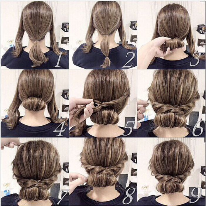 Easy Braided Bun Hairstyle Tutorial When Adapted Great For That Middle Length When Your Hair Is Growing Out Long Hair Styles Hair Styles Medium Hair Styles