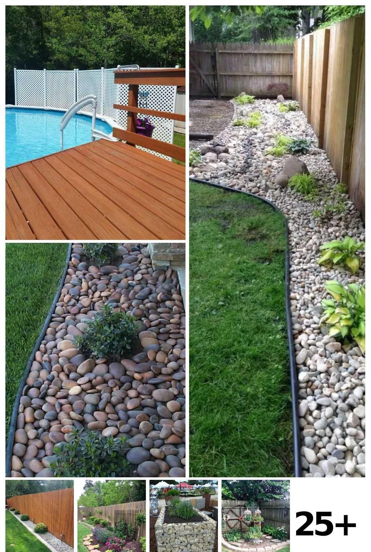 25 Backyard Landscaping Along Fence Rock Border Ideas in ... on Backyard Landscaping Along Fence id=44256