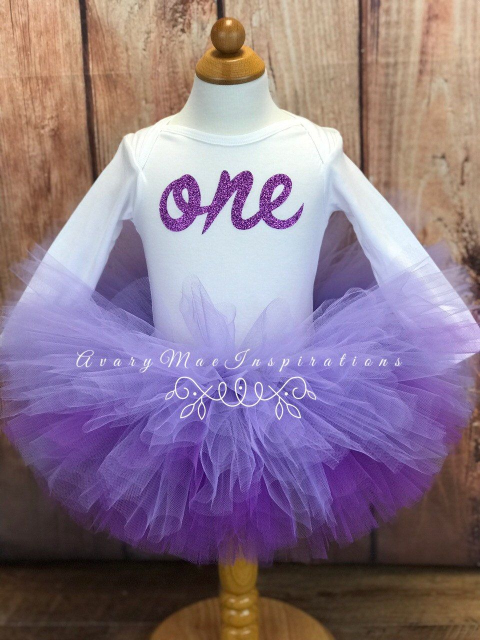 Lavender First Birthday Outfit, Purple Ombre Girls 1st