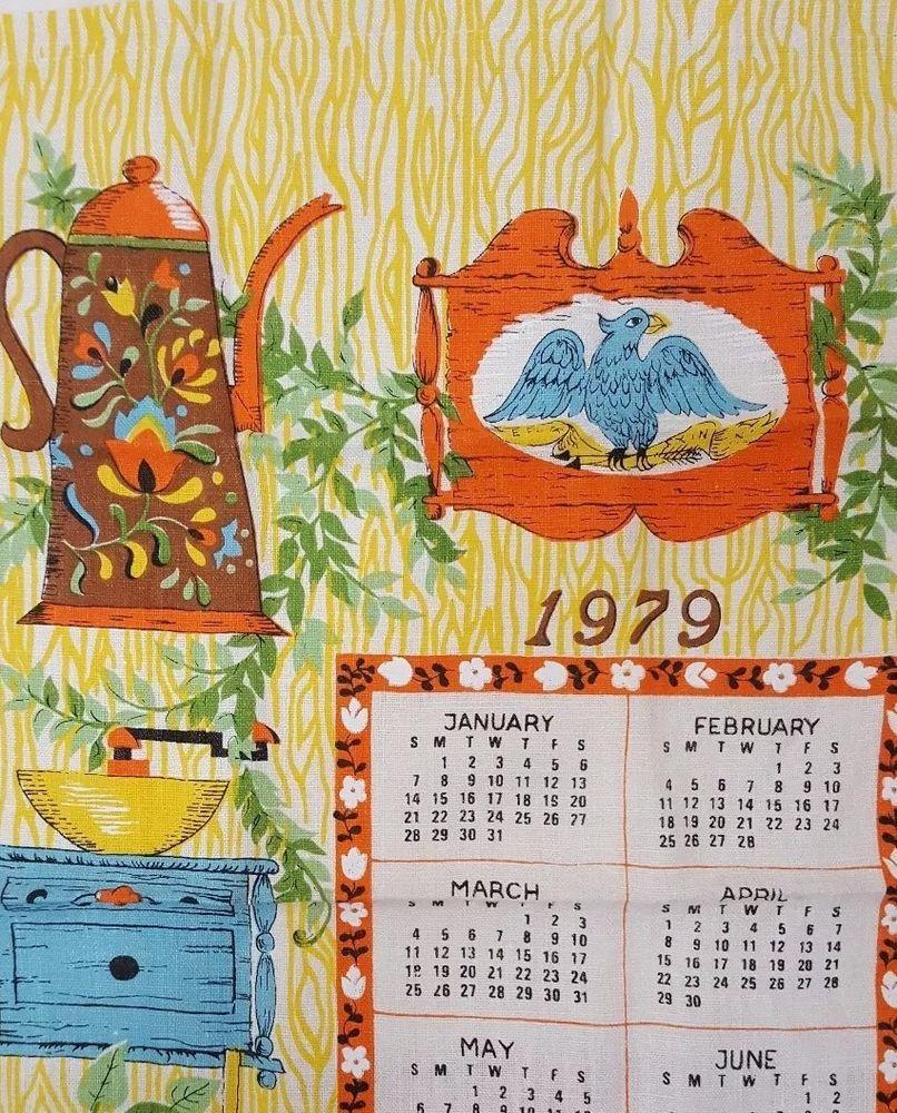 Vintage Kitchen Tea Towel Calendar 1979 Coffee Yellow Orange Blue