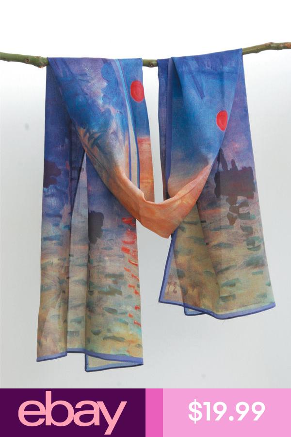 "Sunrise/"" Oblong 100/% Charmeuse Silk Scarf Wrap Art Claude Monet/'s /""Impression"