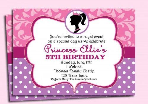 Barbie Princess Invitation Printable Modern Barbie Silhouette