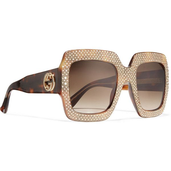 f25d0ec76bb GucciSquare-frame Crystal-embellished Acetate Sunglasses ( 1