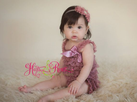 2f3f2ac4aa5 Dusty rose petti lace romper and headband SET by HartsandRoses ...