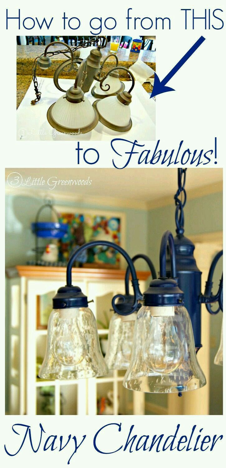 Pin by danni pappoulis on diy chandeliers pinterest diy spray painting a chandelier navy arubaitofo Images