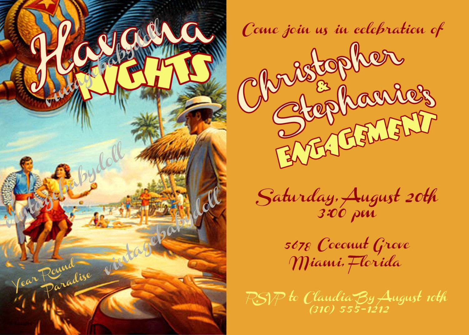 Havana Nights Engagement Rehearsal Dinner Birthday or any occasion