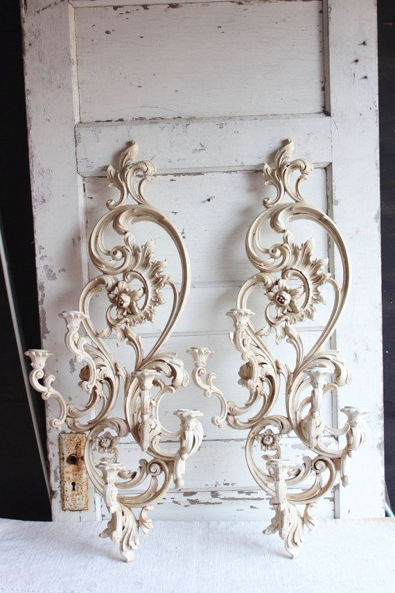 Vintage Syroco Large White Painted Candle Holder Wall Sconces Set Of 2 Vintage Sconces Candle Holders Candle Holder Wall Sconce Candle Wall Sconces Living Room White wall sconces for candles
