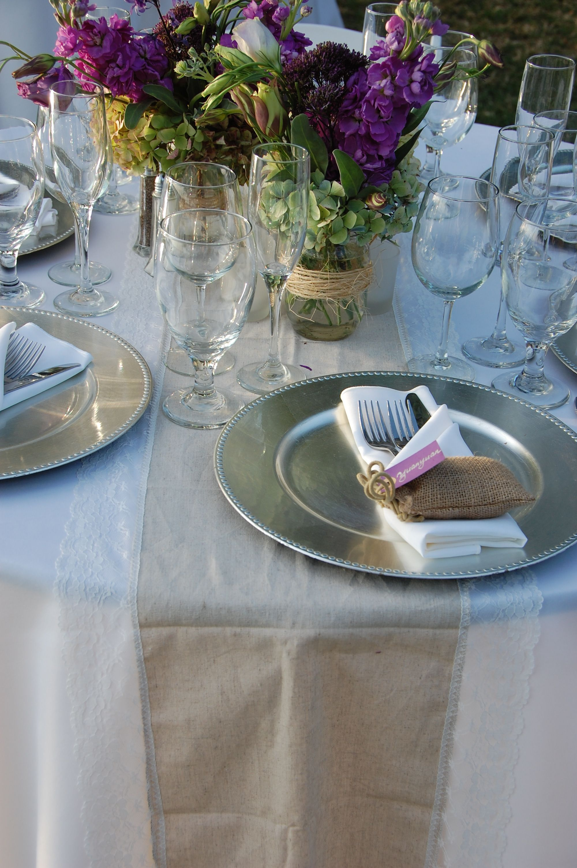 table set up with burlap runner and silver charger plate | Table set ...