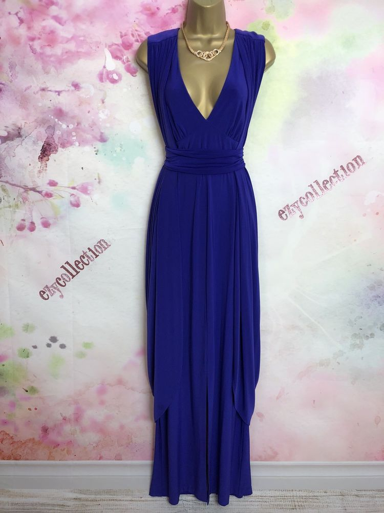 Monsoon Purple Stretchy Maxi Full Length Evening Dress Size 12