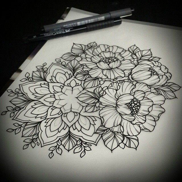 dessin tatouage mandala et fleurs de pivoine sunrisetattooworkshop moscow mandala mangust. Black Bedroom Furniture Sets. Home Design Ideas