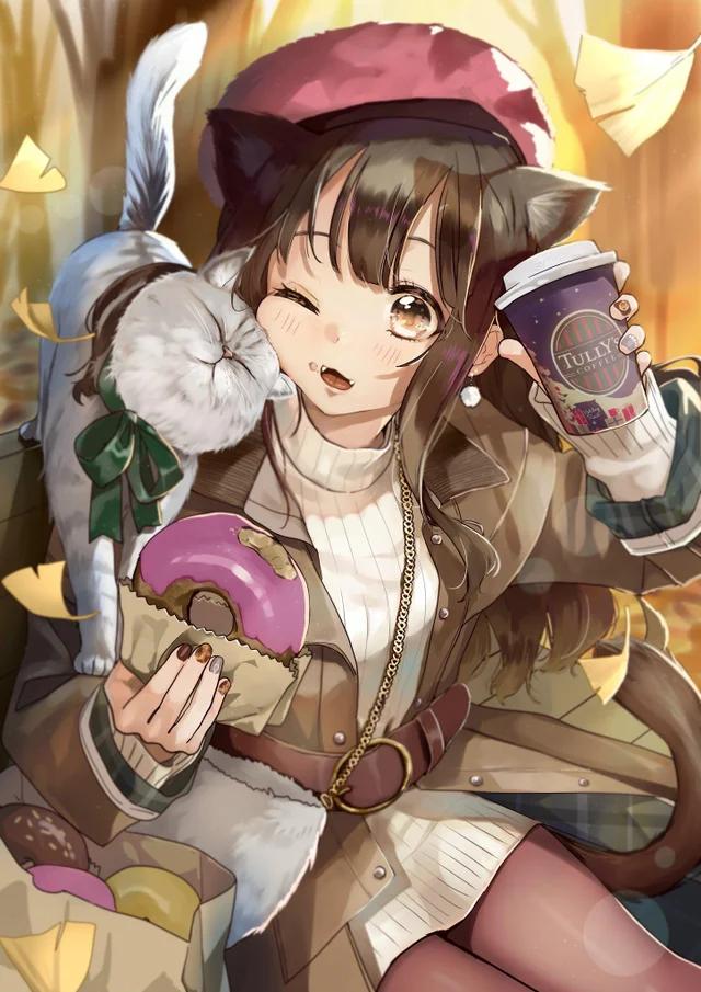 Pin on 3 anime drinking coffee