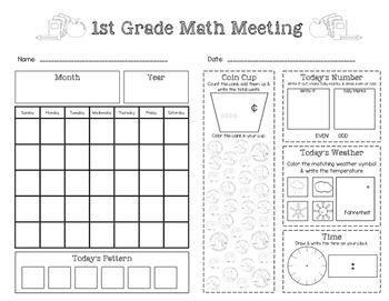 Saxon Math Meeting Worksheet (Grade 1) FREEBIE! Visit www ...