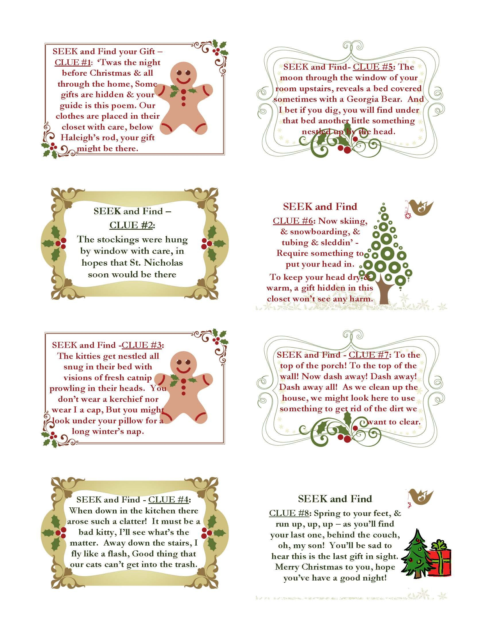 Christmas Party Scavenger Hunt Ideas Part - 28: Christmas Scavenger Hunt Clues For The Younger One Some Good For