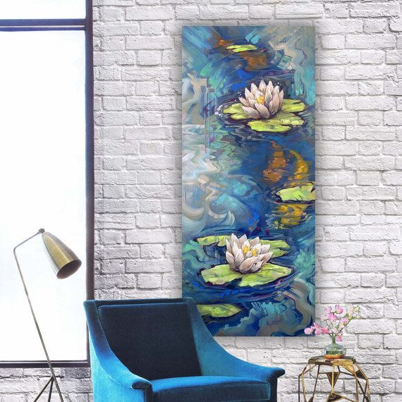 Large Canvas Art Narrow Canvas Tall Painting Lily Pad Etsy Large Canvas Art Painting Art