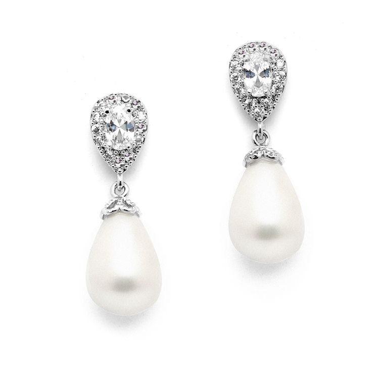 825e6d3e340e13 CZ and Soft Cream Pearl Drop Wedding Earrings in Pierced or Clip  On--Affordable Elegance Bridal -