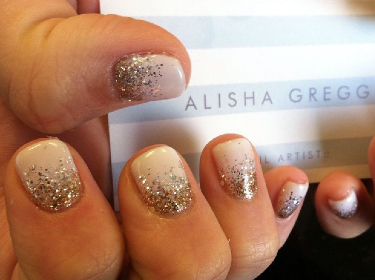 White Gel Polish With Gold And Silver Glitter Fade Gel Nails Nail Art Nails