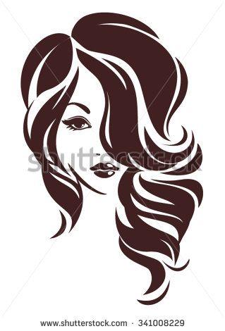 girl with hair loose vector logo
