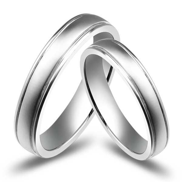 Affordable Couples Wedding Ring Bands on 10k White Gold Couple