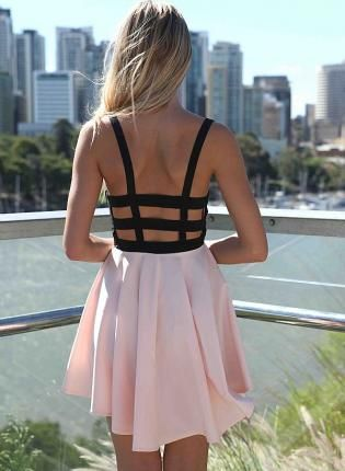 Pink Day Dress - Pink and Black Mini Dresshttp://www.ustrendy.com/store/product/70369/pink-and-black-mini-dress-with-cage-backlace-front-detail