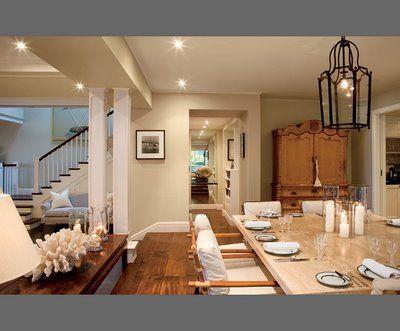 raised dining room and sunken living room | dining room