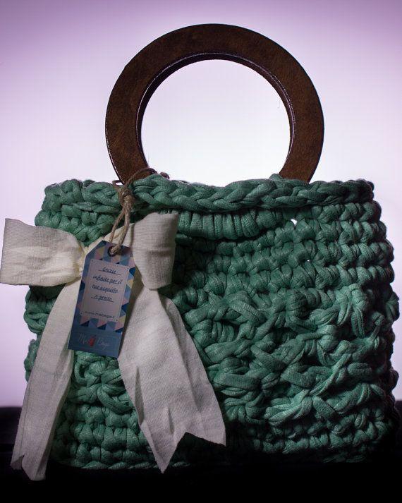 Borsa in fettuccia fatta a mano made in italy verde di MsBagsSales, €24.99