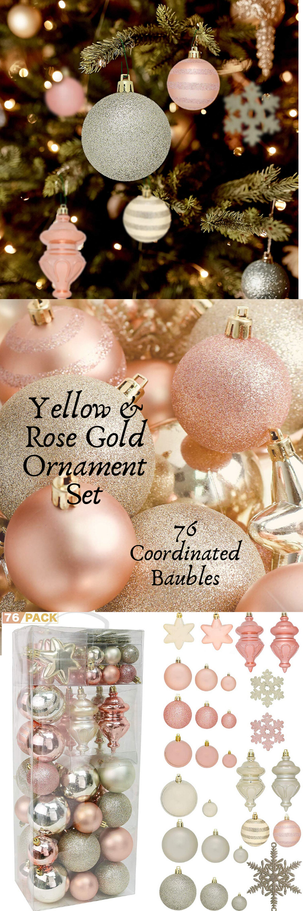 Yellow Rose Gold Ornament Set Ornament Set Gold Ornaments Yellow Roses