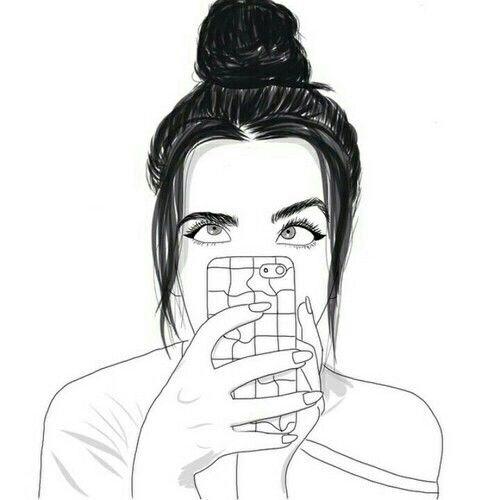 Tumblr Fille Iphone Dessin Noir Et Blanc Fille Noir Et