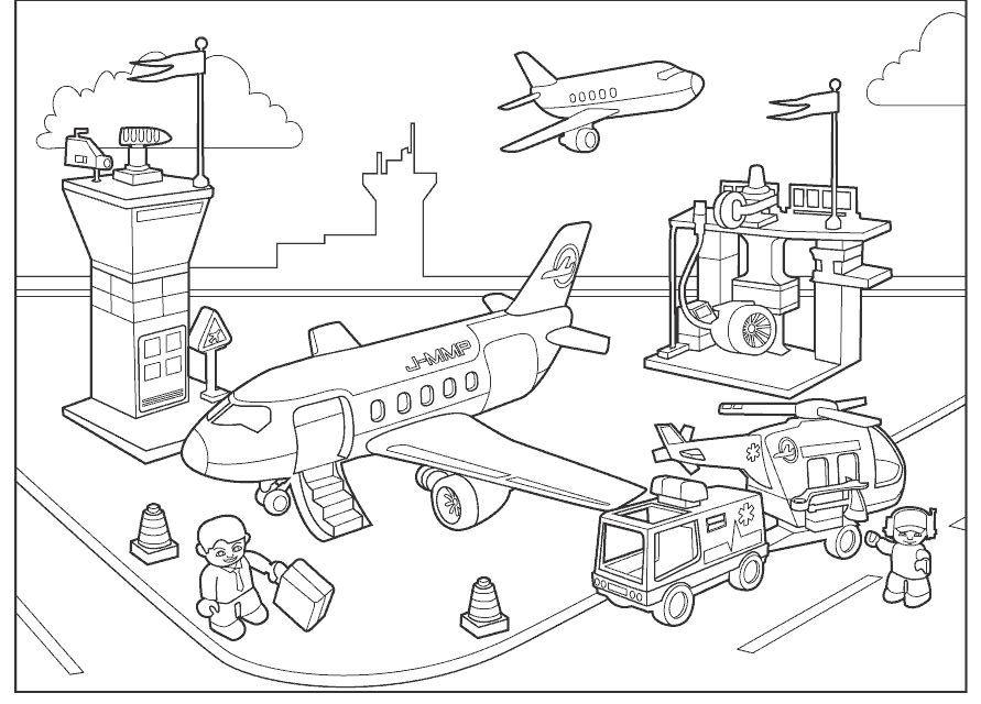 vliegveld kleurplaat kleurplaten vliegtuig knutselen