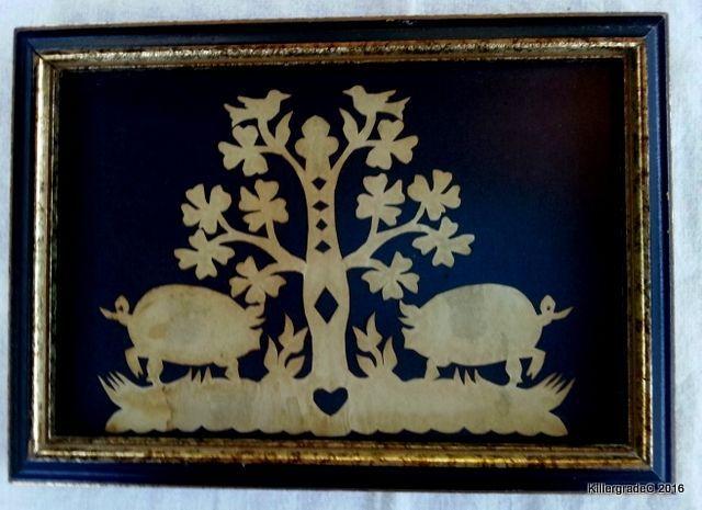 Charming Small Vintage Scherenschnitte PIGS Folk Art Parchment Silhouette    Vintage art, Art, Vintage