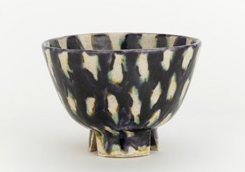 Tea bowl, possibly Nagayo ware  1840-1860    Unidentified, Japanese   Edo period     Porcellaneous stoneware with lead glazes  H: 8.4 W: 11.9 cm   Possibly Nagayo, Japan