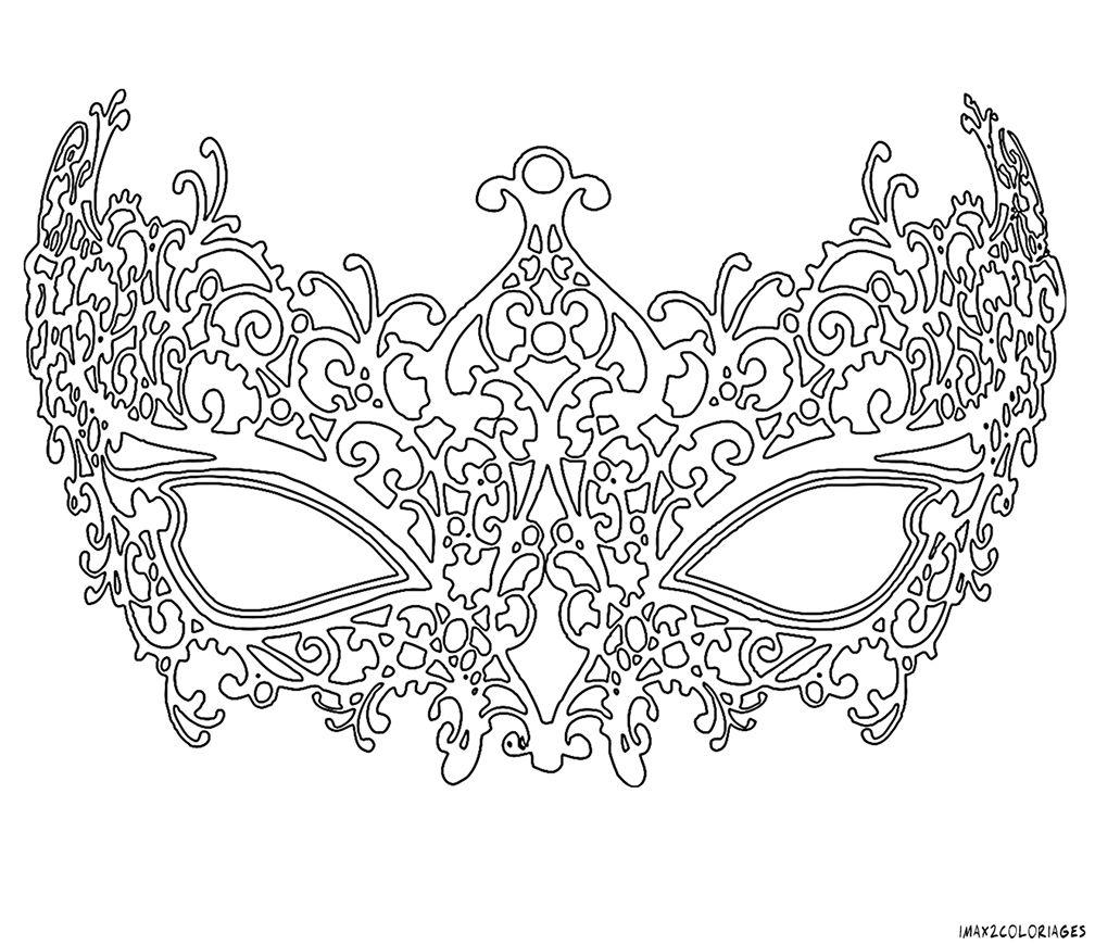 coloriage masque vénitien femme grande image | Photo et dessin ...