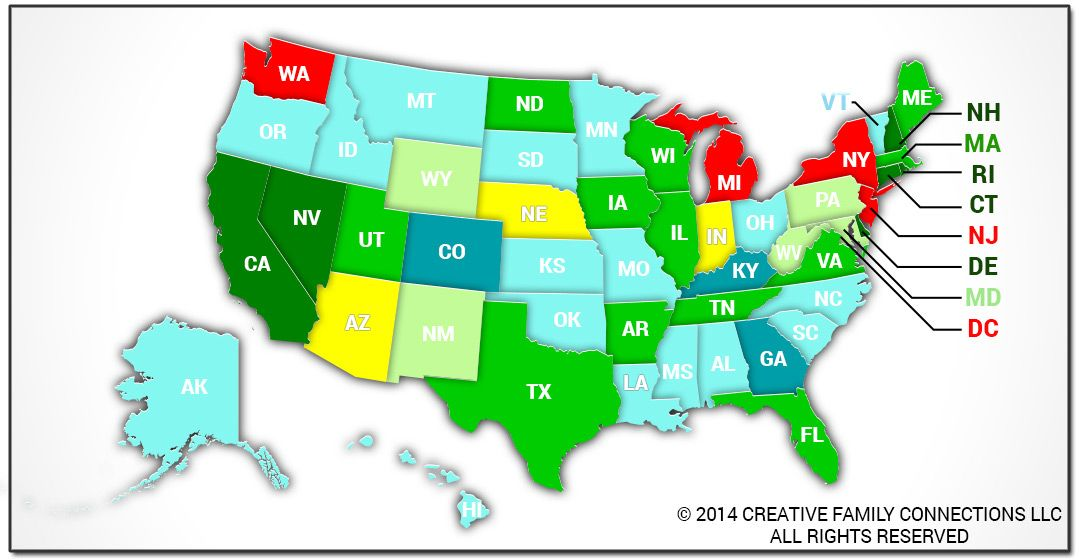 surrogacy laws by state map Creative Family Connections Surrogacy Law By State Creative
