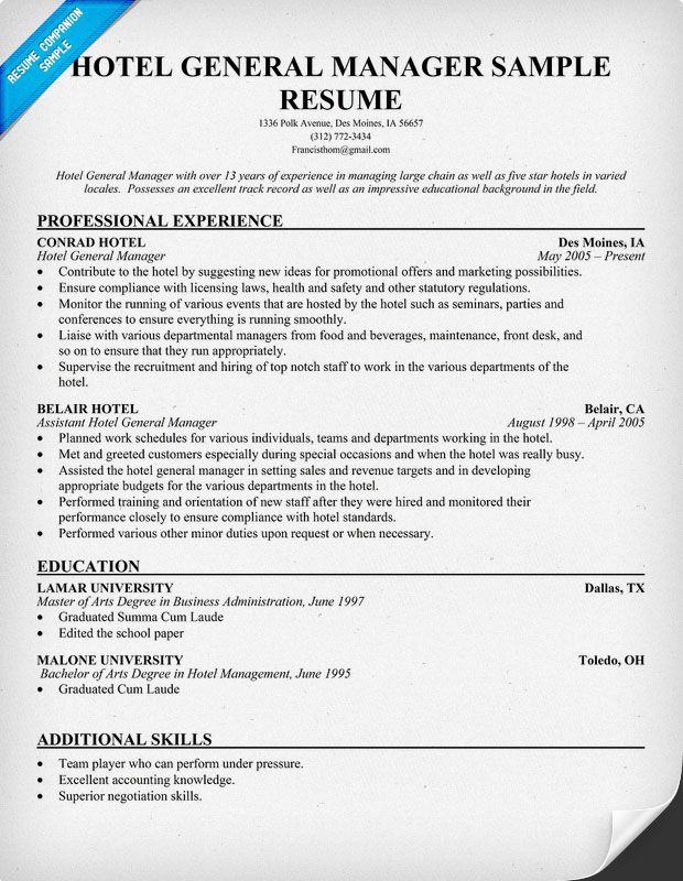 Hotel General Manager Resume Resume Pinterest Resume examples - hotel manager resume samples