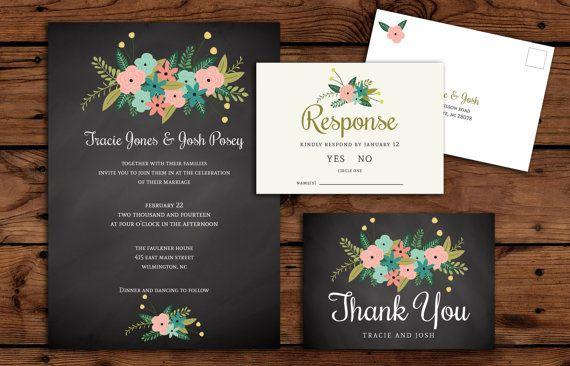 Printable Chalkboard Floral Wedding Invitation by RememberNovemberShop, $28.00